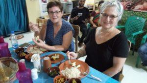 Guest enjoying traditional Odia food